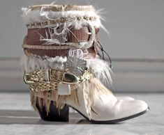 white Upcycled REWORKED vintage festival boho COWBOY BOOTS - boho boots - western boots from TheLookFactory on Etsy