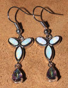 white fire opal mystic topaz earrings gemstone silver jewelry chic drop dangle  #Unbranded #DropDangle