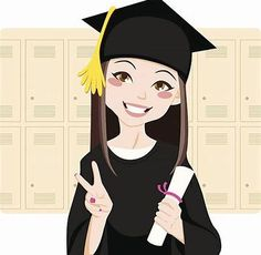 Illustration about Pretty asian woman smiling in front of lockers holding diploma in her hand and making victory sign. Illustration of cartoon, illustration, mortarboard - 19515201 Graduation Cartoon, Graduation Drawing, Graduation Images, Graduation Ideas, Girl Cartoon Characters, Success Pictures, Girls Clips, Girl Clipart, Clip Art