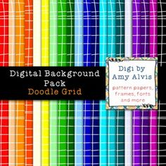 You will receive 20 digital background/scrapbook 8.5 X 11 pages that are 300 dpi and in png.    You will get 20 doodle grid pages in 20 different colors.