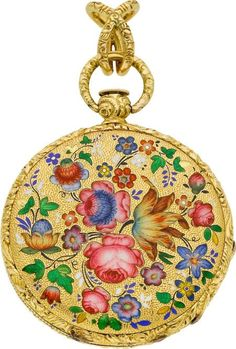 Moilliet Geneva Enamel & Gold Pendant Watch, circa 1860. Case: 18k yellow gold, signed gold cuvette, 33 mm, back with champlevé polychrome enameled flowers and leaves. Dial: white enamel, Roman numerals, gold moon hands.