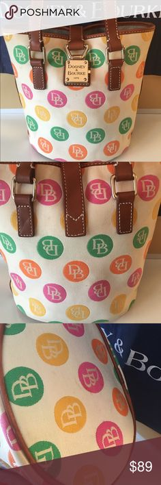 DOONEY & BOURKE BUCKET TOTE 100% AUTHENTIC DOONEY & BOURKE LOVELY BUCKET TOTE 100% AUTHENTIC. WHAT A STUNNING BAG IN DELIGHTFUL PRELOVED CONDITION AS YOU CAN SEE FROM THE PICTURES. WELL CARED FOR AND JUST A BEAUTIFUL BAG WITH MANY YEARS OF JOYFUL ISE LEFT IN IT. THIS BAG MEASURES 10.5 INCHES WIDE BY 9 INCHES TALL AND 6 INCHES DEEP. THE SHOULDER STRAPS HAVE A 9.5 INCH DROP Dooney & Bourke Bags Shoulder Bags