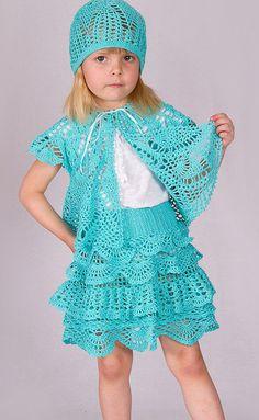Handmade crochet summer girls set: bolero, skirt and hat, Different sizes, blue girl skirt, summer girl skirt, hat, cardigan - made to order by NinaZaida on Etsy