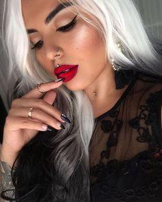 """@jeffreestarcosmetics 'Hoe Hoe Hoe' Velour liquid lipstick  Hair from @powderroomd (use code Jaz10 to get 10% off) Highlight is @anastasiabeverlyhills…"""