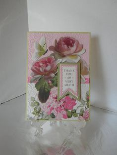 Dimensional Floral Card with Envelope Thank by HearthsideHollow