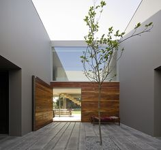 Lonely tree courtyard - love that swinging door too - House in Quinta Patino by Frederico Valsassina Arquitectos Exterior Design, Interior And Exterior, Simple Interior, Interior Garden, Room Interior, Studio Arthur Casas, Architecture Design, Installation Architecture, Outdoor Spaces