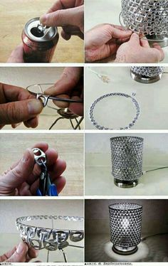 How to make the pop tab lamp shade.