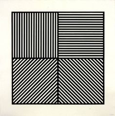 Artwork page for 'A Square Divided Horizontally and Vertically into Four Equal Parts, Each with a Different Direction of Alternating Parallel Bands of Lines', Sol LeWitt, 1982 Wall Drawing, Figure Drawing, Square Logo, La Face, Black And White Aesthetic, Vintage Artwork, Conceptual Art, Geometric Art, Op Art
