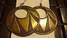 Burnished Gold Design Round Circle Trendy Fashion Earrings