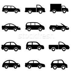 Stockfoto: Auto · vrachtwagens · zwarte · ontwerp · silhouet · tekening