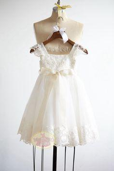 Cap mangas encaje tul flores niña vestido Junior por MonbebeLagos