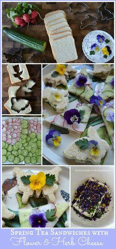 Spring Tea Sandwiches with Flower & Herb Cheese #garden #tea #edibleflower