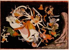 Durga Slaying the Buffalo Demon (Mahishasuramardini). Kota, Rajasthan, India c. 1750
