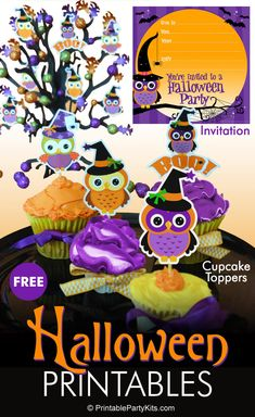 FREE Printable Halloween Owls Party Invitation with Matching Cupcake Toppers | The whimsical design and the cute purple and orange owl on this Halloween party invitation works well for both kids and adults. | There are also four matching Halloween owl cupcake toppers. #HalloweenInvitation #Halloween #HalloweenParty #Owls #HalloweenCupcakeIdeas #HalloweenDesserts #HalloweenForKids #CarlaChadwick Halloween Owl, Adult Halloween Party, Owl Invitations, Cupcake Toppers Free, Party Kit, Party Ideas, Valentine's Day Printables, Halloween Party Invitations, Cute Crafts