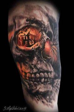 skull tattoo color - Buscar con Google