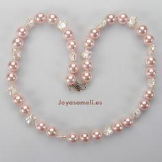 Collar de mujer de perlas Shell y perlas cultivadas blancas, broche de plata, largo 58cm