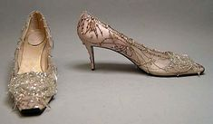 Shoes, Evening  House of Dior  (French, founded 1947)  Designer: Roger Vivier (French, 1913–1998) Date: 1960 Culture: French Medium: silk, nylon, leather, glass, metallic thread Dimensions: Length: 9 1/4 in. (23.5 cm) Height (of heel): 2 1/2 in. (6.4 cm) Credit Line: Gift of Valerian Stux-Rybar, 1979