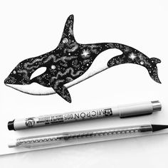 orca tattoo ideas - I Am Obsessed With Drawing Super Detailed Art (Part Orca Tattoo, Tattoo Bein, Whale Tattoos, Space Drawings, Ink Pen Drawings, Animal Drawings, Orcas, Orca Art, Underwater Art
