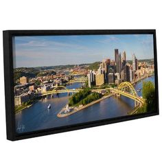 """Zipcode Design Pittsburgh Skyline Panoramic Framed Photographic Print Size: 16"""" H x 48"""" W x 2"""" D"""