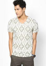 Smart Beige  Printed V Neck T-Shirt