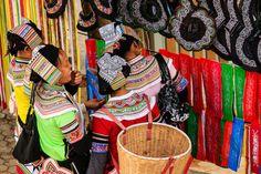 Yi Ethnic Women at the Market, Yuanyang, Yunnan, China