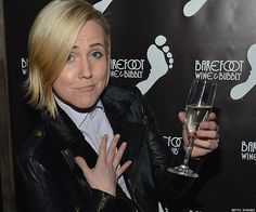 My Drunk Kitchen's Hannah Hart sippin on bubbly #Out100 Awards 2014
