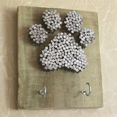 Simple Crafts for Paw Print Art is part of Cork crafts Dog - As I sit and stare at this blank wall in my family room, my mind starts overflowing with ideas ; a Simple Crafts project is what I need What to do Refurbis… Dog Crafts, Easy Crafts, Diy And Crafts, Arts And Crafts, Felt Crafts, Paw Print Art, Art Prints, Paw Print Crafts, Wine Cork Crafts
