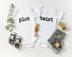 Plot Twist Baby Bodysuits/Baby AnnouncementSizes in BodysuitsNewborn0-3 Months3-6 Months6-12 Months12-18 MonthsSizes in Youth T Shirts2T3T4TSuper soft feel, Poly Cotton BlendHeat Pressed Graphic (will not come off)Wash inside out in cold, Hang or Flat dry*Please note accessories in photo are not included Twin Baby Announcements, Twins Announcement, Twin Baby Clothes, Twin Baby Gifts, Babies Clothes, Newborn Twins, Twin Babies, Baby Twins, Pregnancy Twins