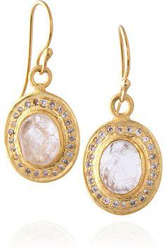 Kevia 22-karat gold-plated pavé earrings