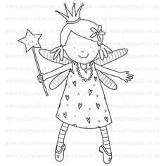 cute fairy with wand digital stamp