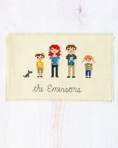 DIY: cross-stitch family portrait. Might be a cute gift idea for family and friends..stitch their family.