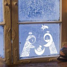 V jesličkách - bílá - balíček samolepek na okno