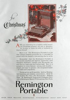 1927 Remington Portable Typewriter Ad ~ For Christmas