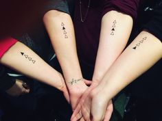 I have 4 beautiful sisters, and we wanted a way be reminded daily of the connection we have. The triangle represents a strong foundation, the solid triangle is in order which we were born and its on our left arm because the veins in that arm connect to your. Most meaningful tattoo I have!