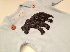 Long Sleeve Bear Onesie on Baby Blue by UCbyJ on Etsy, $18.00