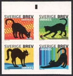 Cats and their Body Language | Swedish postal stamps, 2010 | designed by Carina Lanks -preciso