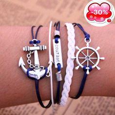 HOMOD Silver Anchor Bracelet Women Bohemia Wrap Charm Bracelets Courage Bangles For Women Men Jewelry Friendship Bracelets Cheap Charm Bracelets, Layered Bracelets, Love Bracelets, Bangle Bracelets, Bracelet Men, Friendship Bracelets, Leather Jewelry, Fashion Vintage, Statement Jewelry