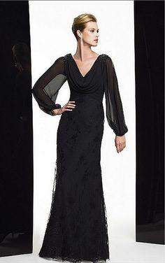 Black Sheath Floor-length Jewel Dress [Dresses 9328] - $187.00 : - KissPromGirl.com