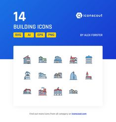 Building  Icon Pack - 14 Filled Outline Icons
