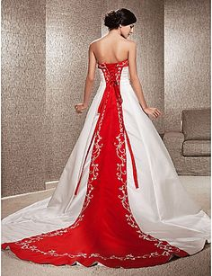 A-line Strapless Satin Chapel Train Wedding Dress