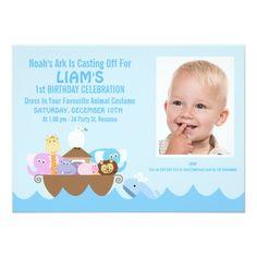 Photo Card Birthday Invitation Boys Noah's Ark Photo Birthday Invitation