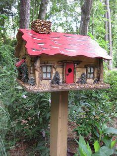 Unique Birdhouses | Red Roof Rock Chimney Cabin