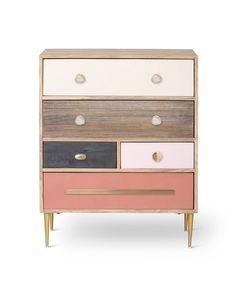 Combining an unstained finish with pops of colour and metallic accents, the Gal Unstained Mango Wood Chest of Drawers takes on a starring role in your bedroom. Handcrafted in India from unstain Bedroom Chest, Wood Bedroom, Master Bedroom, Cream And Pink Bedroom, Wood Furniture, Bedroom Furniture, Wood Chest, Colorful Furniture, Bedroom Storage
