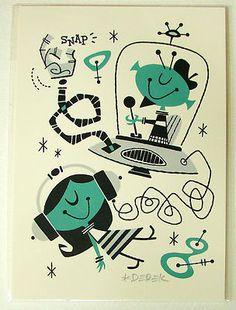Derek Yaniger Into Orbit Silkscreen Print Signed Retro Art Girl Serigraph | eBay