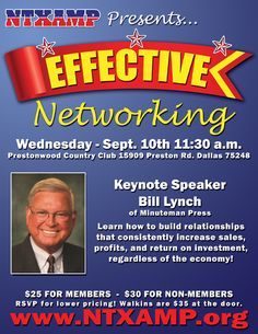 Learn how to Network like a champ!  Sept. 10, 2014 in Dallas.  http://www.ntxamp.org