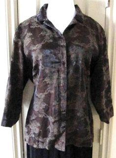 CHICO DESIGN Size 3 Silk Blend Brown Tone on Tone Slight Metallic BD Shirt/Jack #Chicos #ButtonDownShirtjacket