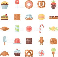 Sweets flat multicolored icons vector set. Minimalistic design. royalty-free stock vector art