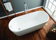 Great value white freestanding bath from April. We love the look of this with its deep base and curved ends.#bath