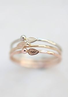 Gold leaf ring, rose gold, yellow gold, white gold, delicate, solid 14k gold…