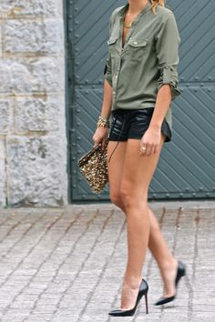 Army Green, Leather and Sequins